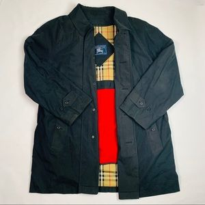 VTG Burberry Trench Coat Black Wool Lined 44R (XL)